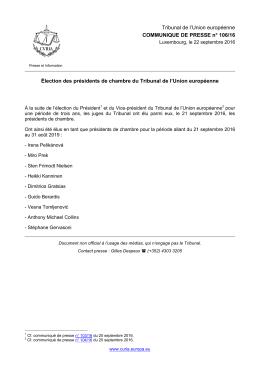Élection des présidents de chambre du Tribunal de l`Union