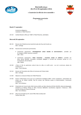 Programme provisoire - Association internationale des Maires