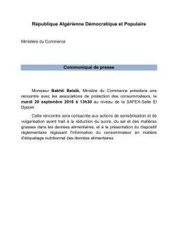 Lire communiqué - Ministère du Commerce