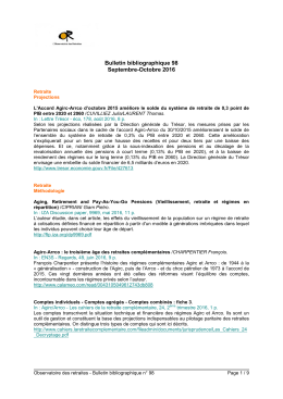 Bulletin bibliographique 98 Septembre-Octobre 2016