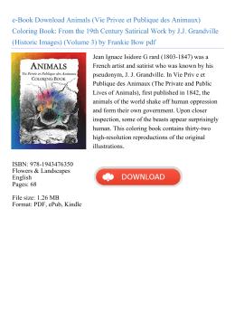 Animals (Vie Privee et Publique des Animaux) Coloring Book: From