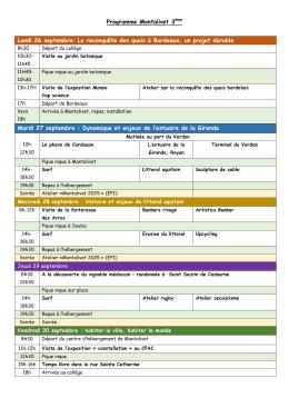 Programme - Collège La Roche Beaulieu