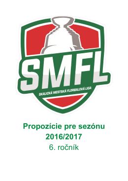 Propozície pre sezónu 2016/2017 6. ročník