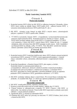 Schválené VV SSTZ zo dňa 20.9.2016 Štatút kontrolnej komisie