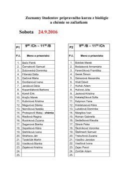 Zoznamy študentov 24.9.2016