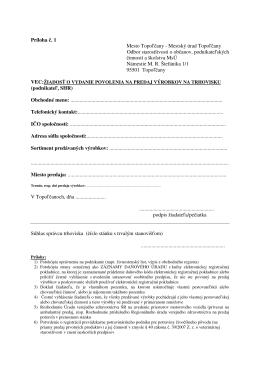 Príloha č. 1 Mesto Topoľčany - Mestský úrad Topoľčany Odbor