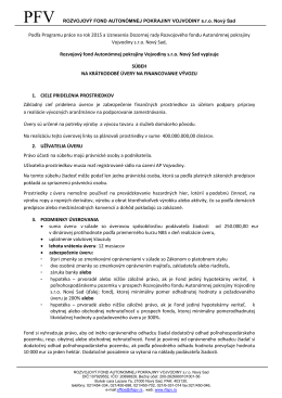 Podľa Programu práce na rok 2015 a Uznesenia Dozornej rady