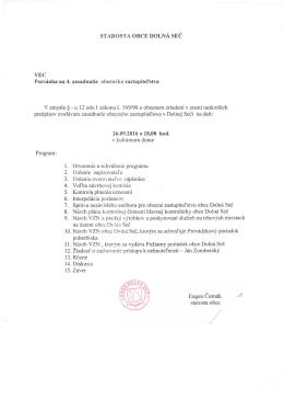 STAROSTA OBCE DOLNÁ SEČ VEC Pozvánka na 4. zasadnutie