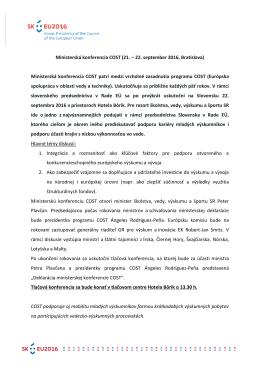 Ministerská konferencia COST (21. ‒ 22. september