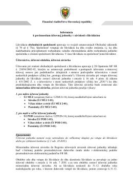Informácia k povinnostiam účtovnej jednotky v súvislosti s likvidáciou