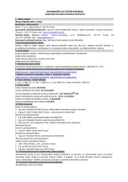 informačný list súťaže návrhov