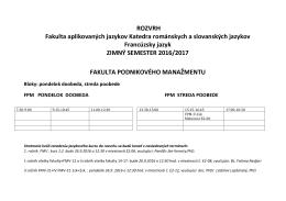 ROZVRH Fakulta aplikovaných jazykov Katedra románskych a