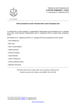 Voľba predsedov komôr Všeobecného súdu - curia