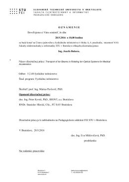 Ing. Jozef Bokor - oznámenie - Fakulta elektrotechniky a informatiky