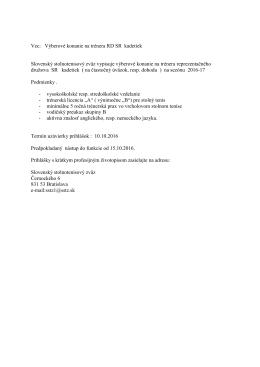 Vec: Výberové konanie na trénera RD žien SR