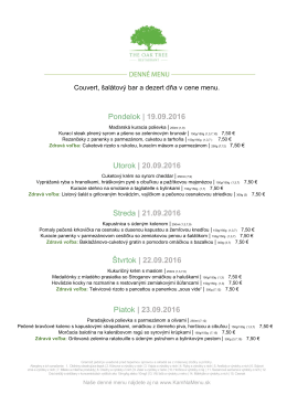 Denné menu THE OAK TREE RESTAURANT 19.09.2016