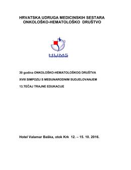 Program - Hrvatska udruga medicinskih sestara