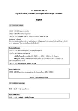 Program Skupštine - Hrvatsko knjižničarsko društvo