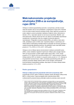 Makroekonomske projekcije stručnjaka ESB a za