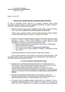 Upute za upis u zimski semestar - FSB