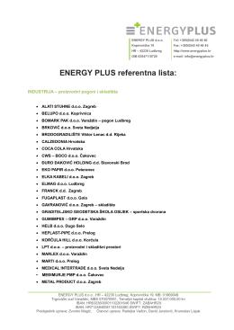 Lista klijenata - ENERGY PLUS doo