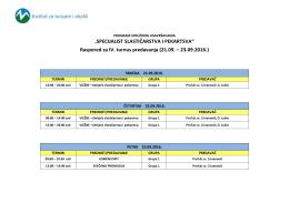 Raspored za IV. turnus predavanja (21.09. – 23.09.2016.)