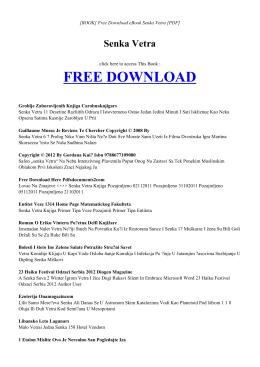 SENKA VETRA - INDEX   Free eBook