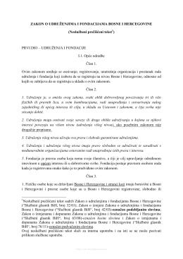 Zakon o udruzenjima i fondacijama Bosne i Hercegovine