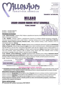 Milano 5 dana 2 noćenja - Turistička agencija Marco Polo