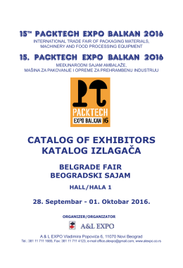 15th PACKTECH EXPO BALKAN 2016 CATALOG OF EXHIBITORS