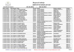 Raspored suđenja 03.10.2016 08.10.2016