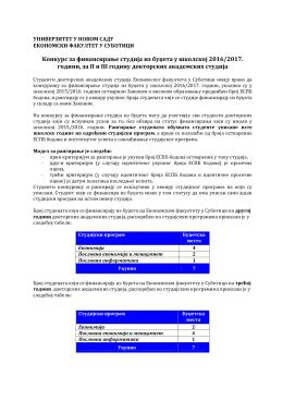 Konkurs za finansiranje studija iz budžeta u školskoj 2016/2017