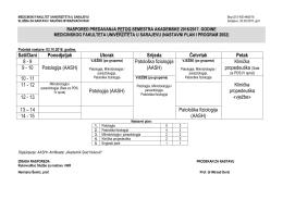 Rasporedi predavanja od 3 - 5 godine