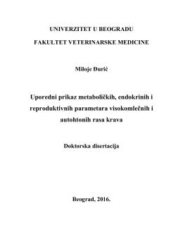 Uporedni prikaz metaboliĉkih, endokrinih i reproduktivnih