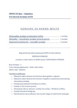 PDF - konkurs za radno mesto - HOYA-VS