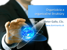 Organizovanie a organizačné štruktúry