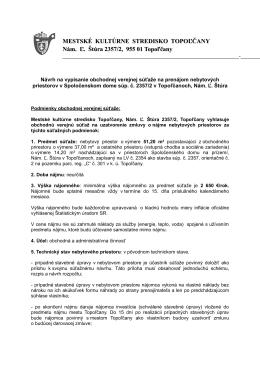 MESTSKÉ KULTÚRNE STREDISKO TOPOĽČANY Nám. Ľ. Štúra