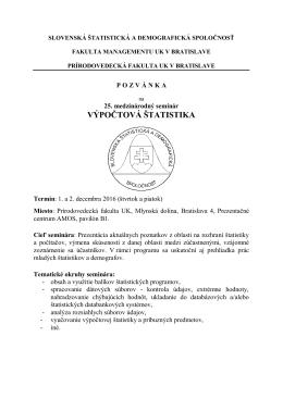 výpočtová štatistika - Slovenská štatistická a demografická spoločnosť