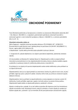 obchodné podmienky - Cestovná kancelária Belmare