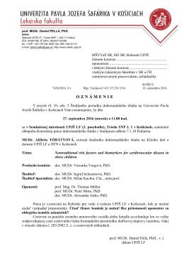 MUDr. Alžbeta TÓHÁTYOVÁ - Univerzita Pavla Jozefa Šafárika v