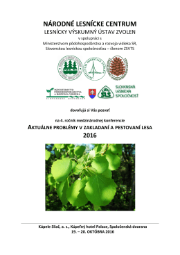 Aktuálne problémy v zakladaní a pestovaní lesa