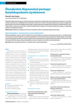 Štandardné dispenzačné postupy: butylskopolamín