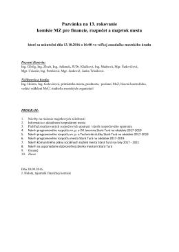 Pozvánka na rokovanie komisie pre financie, rozpočet a