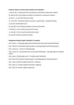 Prijímacie skúšky na stredné školy v školskom roku 2016/2017 1