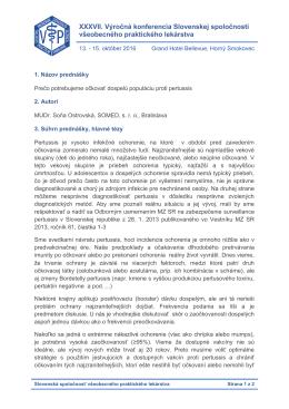 XXXVII. Výročná konferencia Slovenskej spoločnosti všeobecného