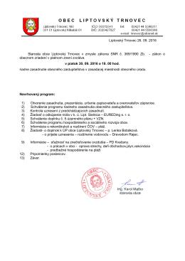 Pozvánka na zasadnutie OZ 30.9.2016