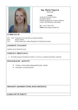 Ing. Marta Nagyová - Strojnícka fakulta