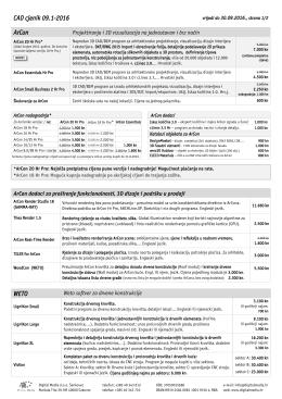 CAD cjenik 09.1-2016 ArCon WETO