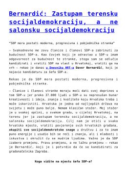 Bernardić: Zastupam terensku socijaldemokraciju, a ne