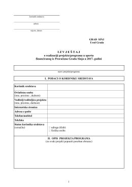 Obrazac za izvještaj o realizaciji projekta